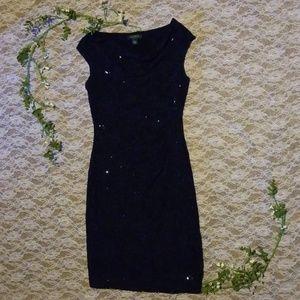 Deep blue sequin dress